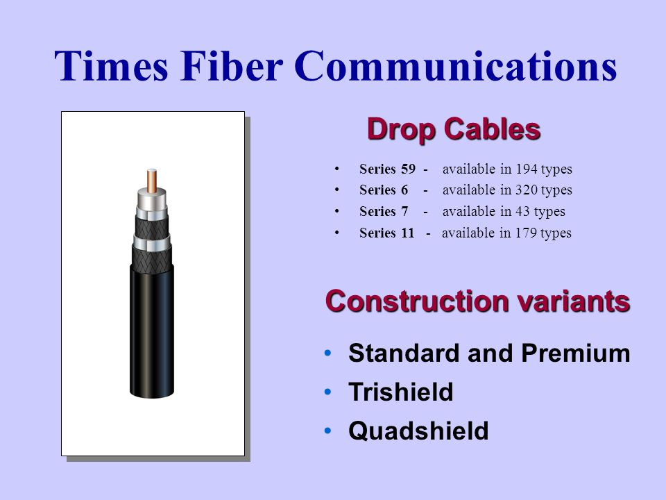Times Fiber Communications Drop Cables Series 59 - available in 194 types Series 6 - available in 320 types Series 7 - available in 43 types Series 11 - available in 179 types Standard and Premium Trishield Quadshield Construction variants