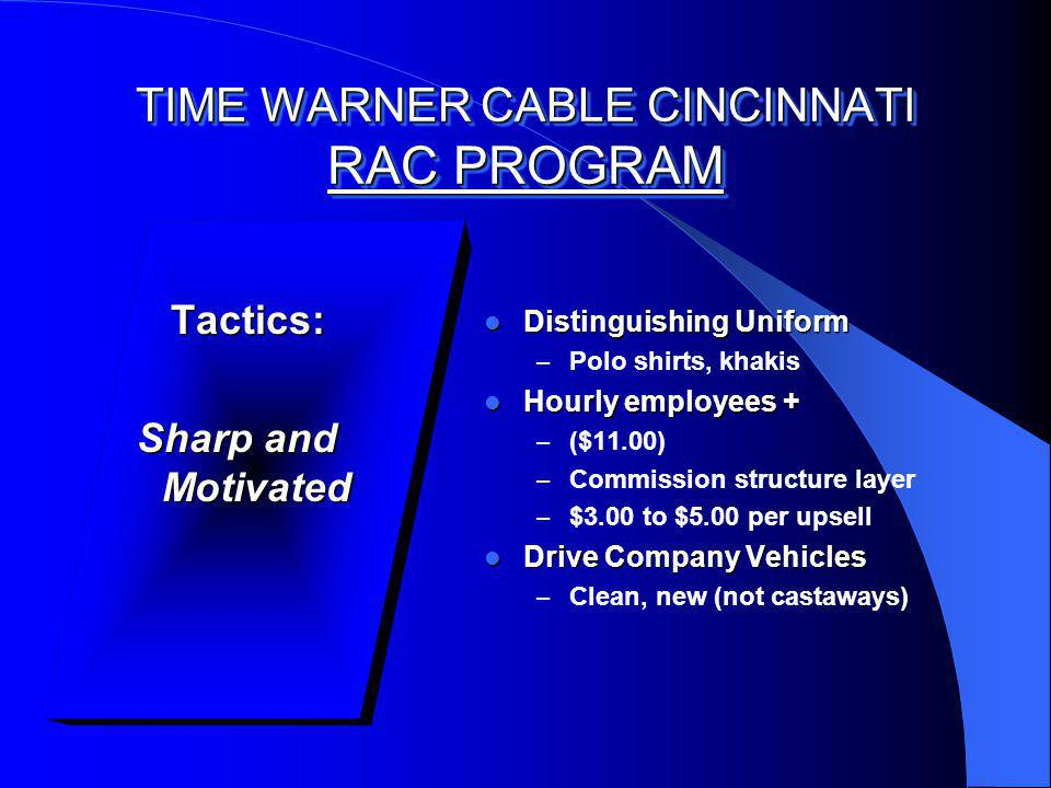 TIME WARNER CABLE CINCINNATI RAC PROGRAM Tactics: Tactics: Sharp and Motivated Distinguishing Uniform Distinguishing Uniform – Polo shirts, khakis Hourly employees + Hourly employees + – ($11.00) – Commission structure layer – $3.00 to $5.00 per upsell Drive Company Vehicles Drive Company Vehicles – Clean, new (not castaways)
