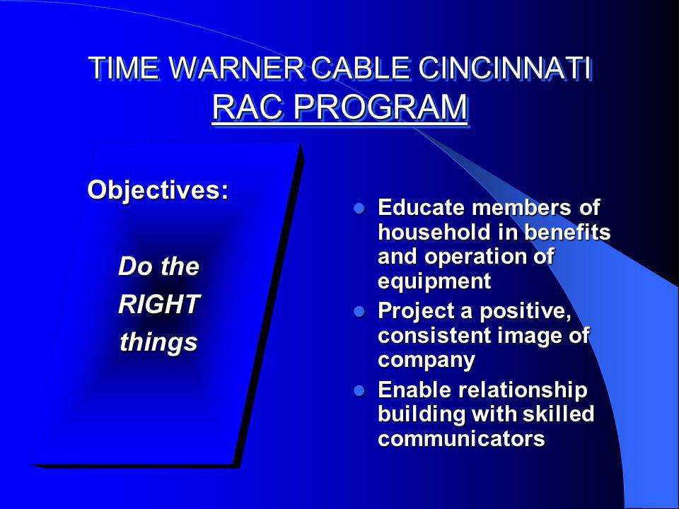 TIME WARNER CABLE CINCINNATI RAC PROGRAM Objectives: Do the RIGHTthings Educate members of household in benefits and operation of equipment Educate members of household in benefits and operation of equipment Project a positive, consistent image of company Project a positive, consistent image of company Enable relationship building with skilled communicators Enable relationship building with skilled communicators