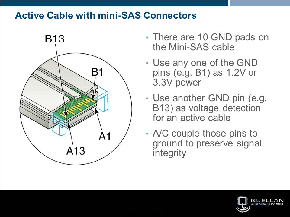 Active Cable with mini-SAS Connectors There are 10 GND pads on the Mini-SAS cable Use any one of the GND pins (e.g. B1) as 1.2V or 3.3V power Use anot