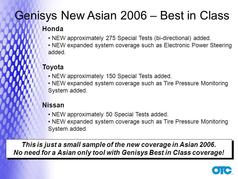 Genisys New Asian 2006 – Best in Class Honda NEW approximately 275 Special Tests (bi-directional) added.
