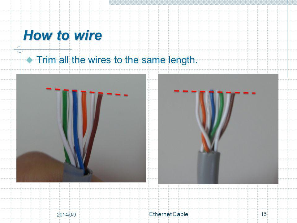 How to wire Trim all the wires to the same length. 15 Ethernet Cable 2014/6/9