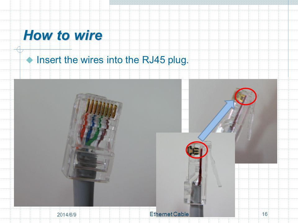 How to wire Insert the wires into the RJ45 plug. 16 Ethernet Cable 2014/6/9