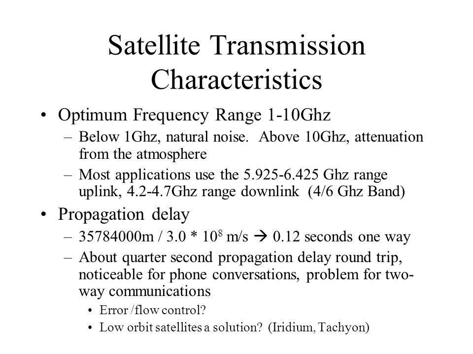 Satellite Transmission Characteristics Optimum Frequency Range 1-10Ghz –Below 1Ghz, natural noise. Above 10Ghz, attenuation from the atmosphere –Most