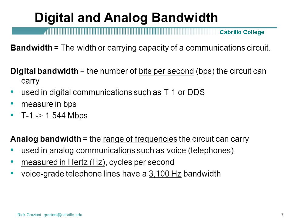 Rick Graziani graziani@cabrillo.edu7 Digital and Analog Bandwidth Bandwidth = The width or carrying capacity of a communications circuit. Digital band
