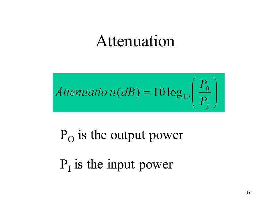16 Attenuation P O is the output power P I is the input power