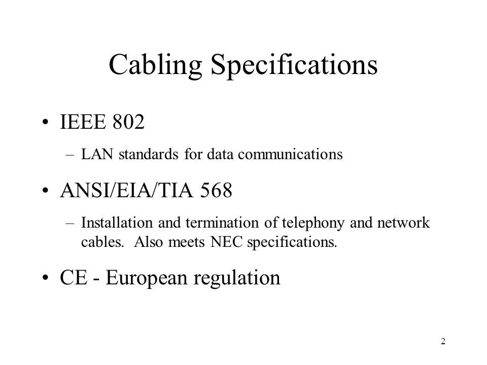 2 Cabling Specifications IEEE 802 –LAN standards for data communications ANSI/EIA/TIA 568 –Installation and termination of telephony and network cables.
