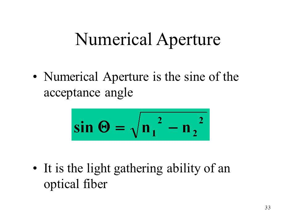 33 Numerical Aperture Numerical Aperture is the sine of the acceptance angle It is the light gathering ability of an optical fiber