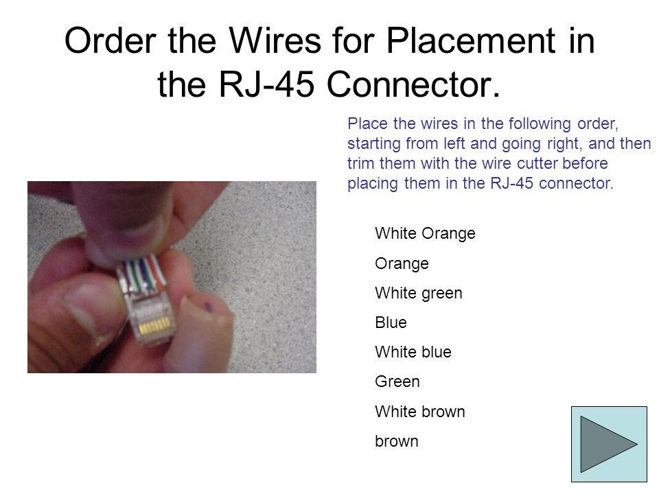 Order the Wires for Placement in the RJ-45 Connector. White Orange Orange White green Blue White blue Green White brown brown Place the wires in the f