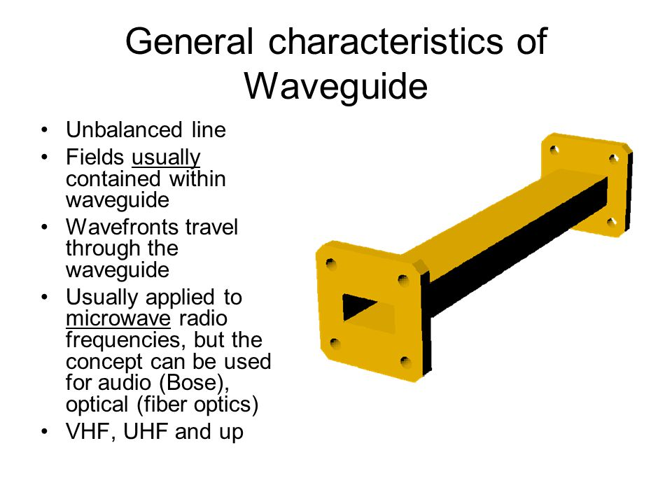 General characteristics of Waveguide Unbalanced line Fields usually contained within waveguide Wavefronts travel through the waveguide Usually applied to microwave radio frequencies, but the concept can be used for audio (Bose), optical (fiber optics) VHF, UHF and up