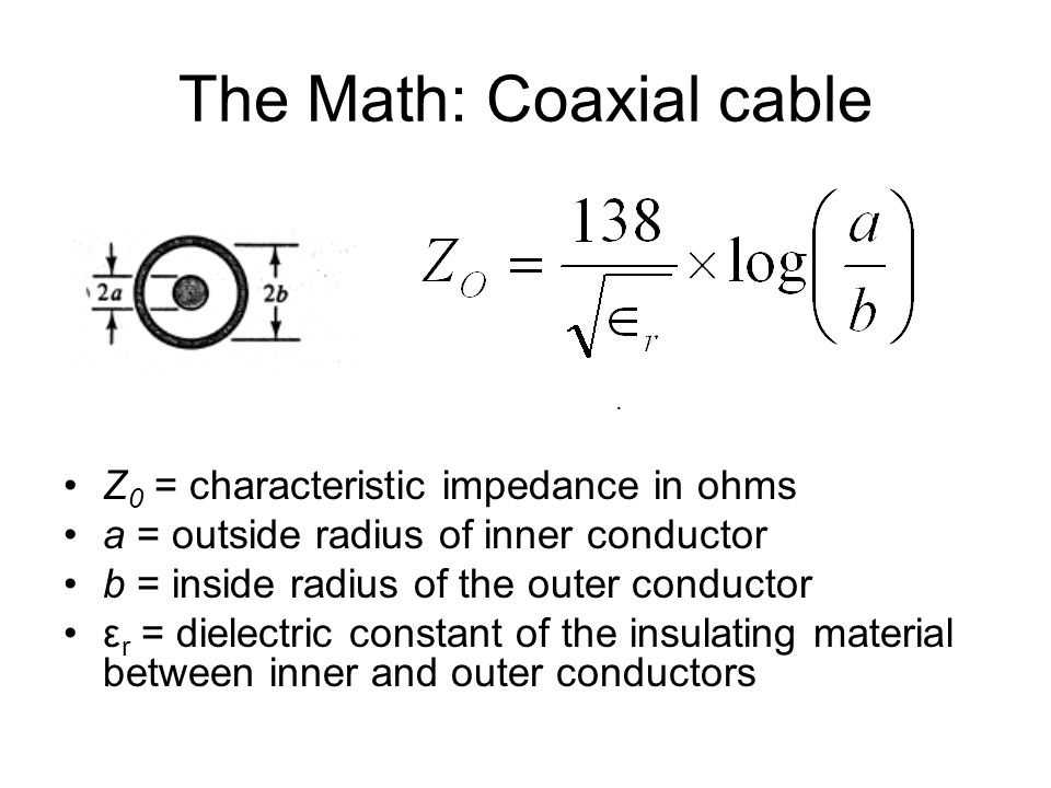 The Math: Coaxial cable Z 0 = characteristic impedance in ohms a = outside radius of inner conductor b = inside radius of the outer conductor ε r = dielectric constant of the insulating material between inner and outer conductors.
