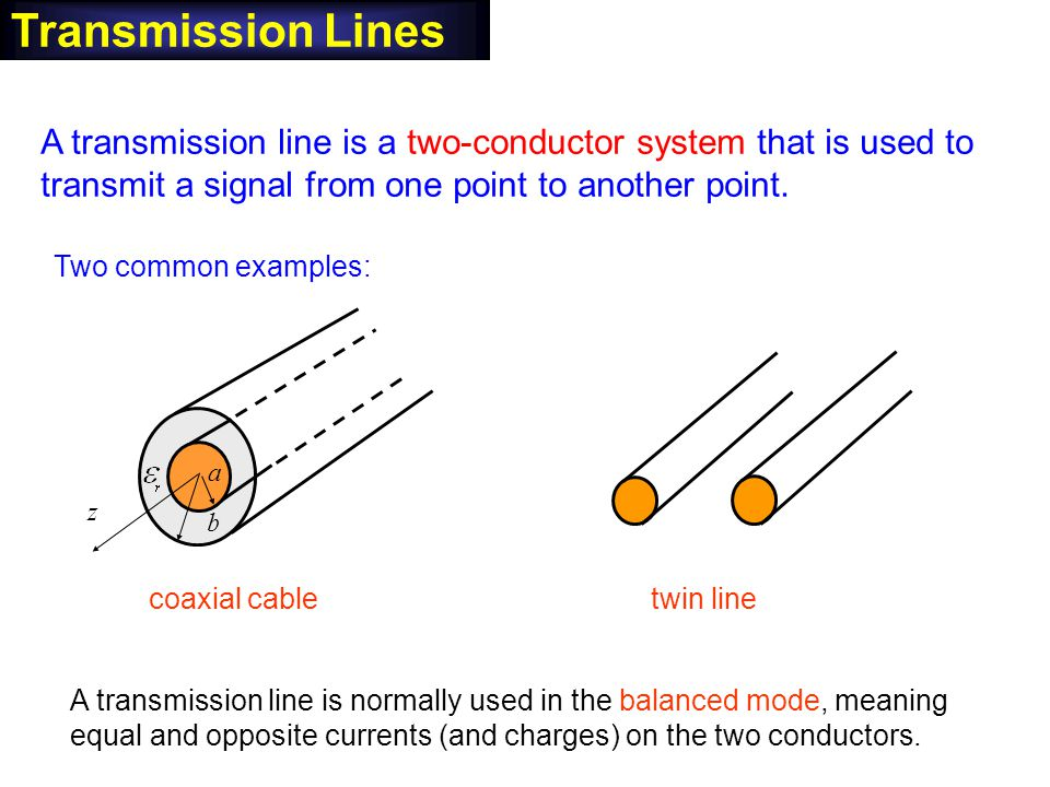 A transmission line is a two-conductor system that is used to transmit a signal from one point to another point. Transmission Lines Two common example