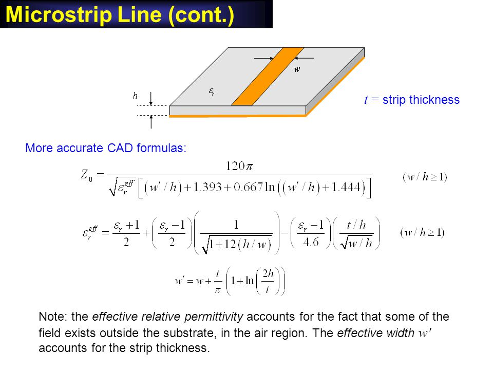 Microstrip Line (cont.) More accurate CAD formulas: Note: the effective relative permittivity accounts for the fact that some of the field exists outs