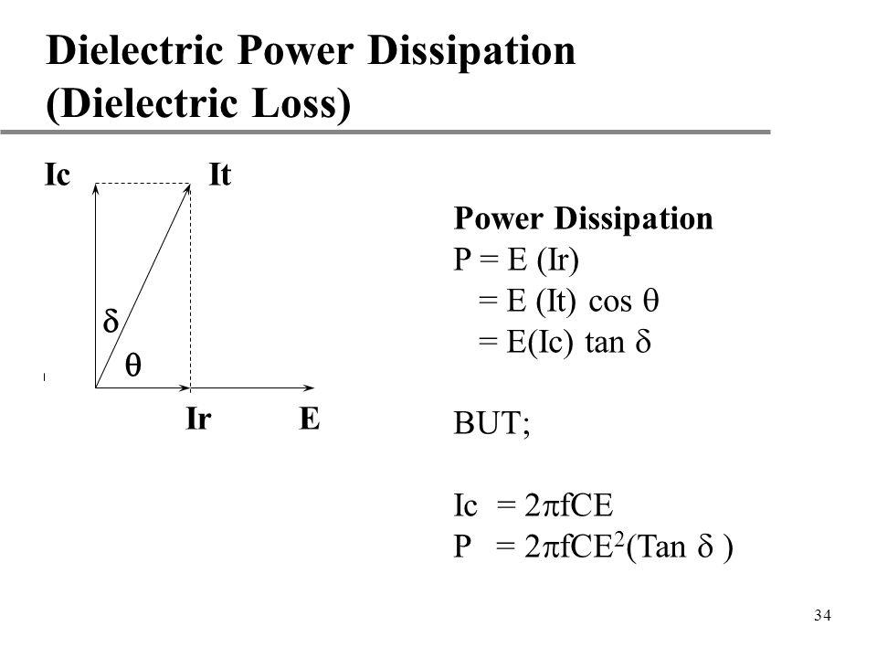 34 Dielectric Power Dissipation (Dielectric Loss) Ic It Power Dissipation P = E (Ir) = E (It) cos = E(Ic) tan BUT; Ic = 2 fCE P = 2 fCE 2 (Tan ) Ir E