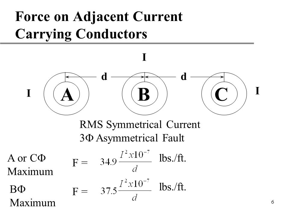 7 Force on Adjacent Current Carrying Conductors A C dd I I I RMS Symmetrical Current 3 Asymmetrical Fault = 689 lbs./ft.