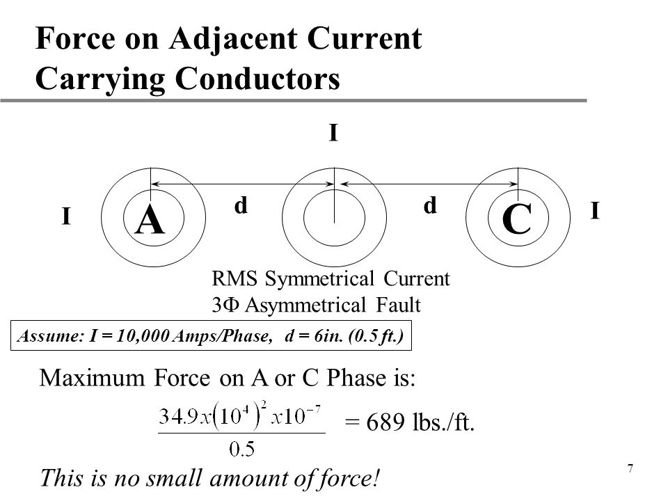 7 Force on Adjacent Current Carrying Conductors A C dd I I I RMS Symmetrical Current 3 Asymmetrical Fault = 689 lbs./ft. Assume: I = 10,000 Amps/Phase