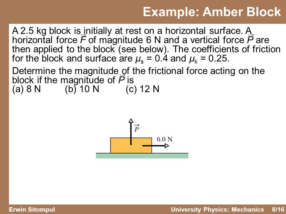 8/16 Erwin SitompulUniversity Physics: Mechanics A 2.5 kg block is initially at rest on a horizontal surface. A horizontal force F of magnitude 6 N an