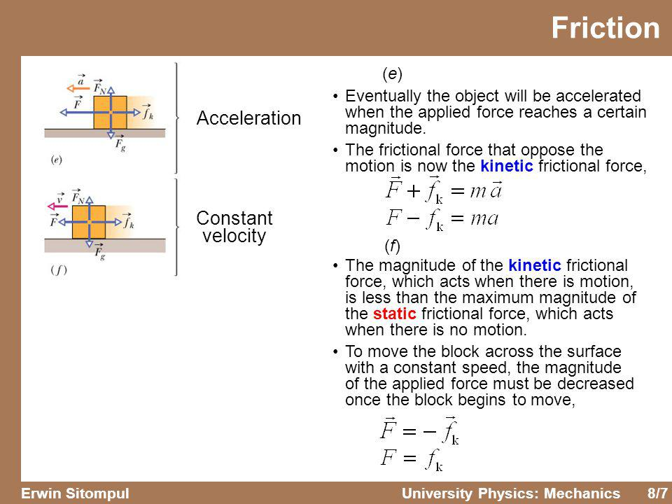 8/7 Erwin SitompulUniversity Physics: Mechanics Friction Acceleration Constant velocity (e)(e) (f)(f) Eventually the object will be accelerated when t