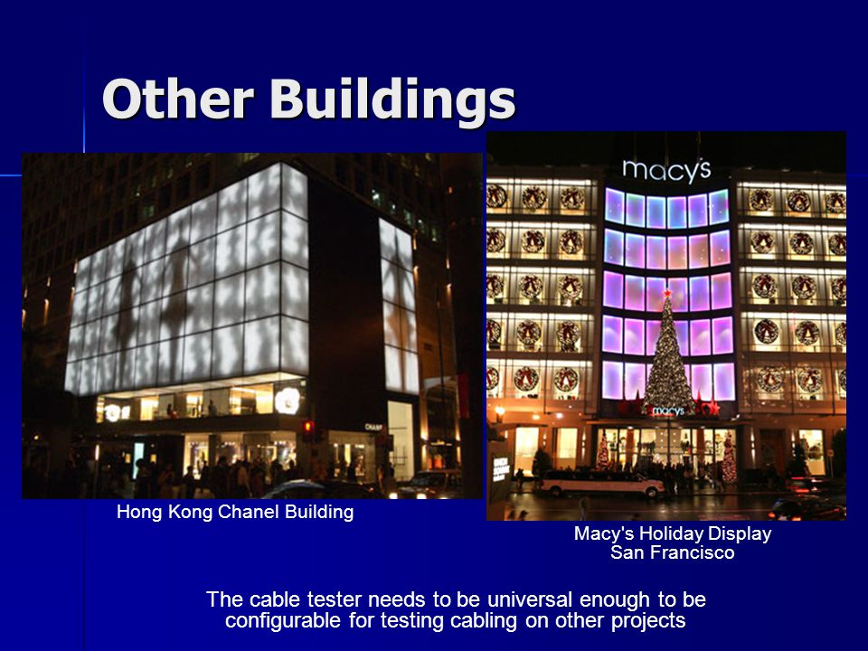 Other Buildings Hong Kong Chanel Building Macy's Holiday Display San Francisco The cable tester needs to be universal enough to be configurable for te