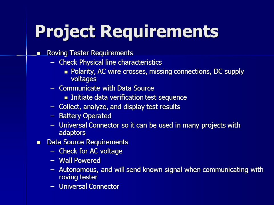 Project Requirements Roving Tester Requirements Roving Tester Requirements –Check Physical line characteristics Polarity, AC wire crosses, missing con