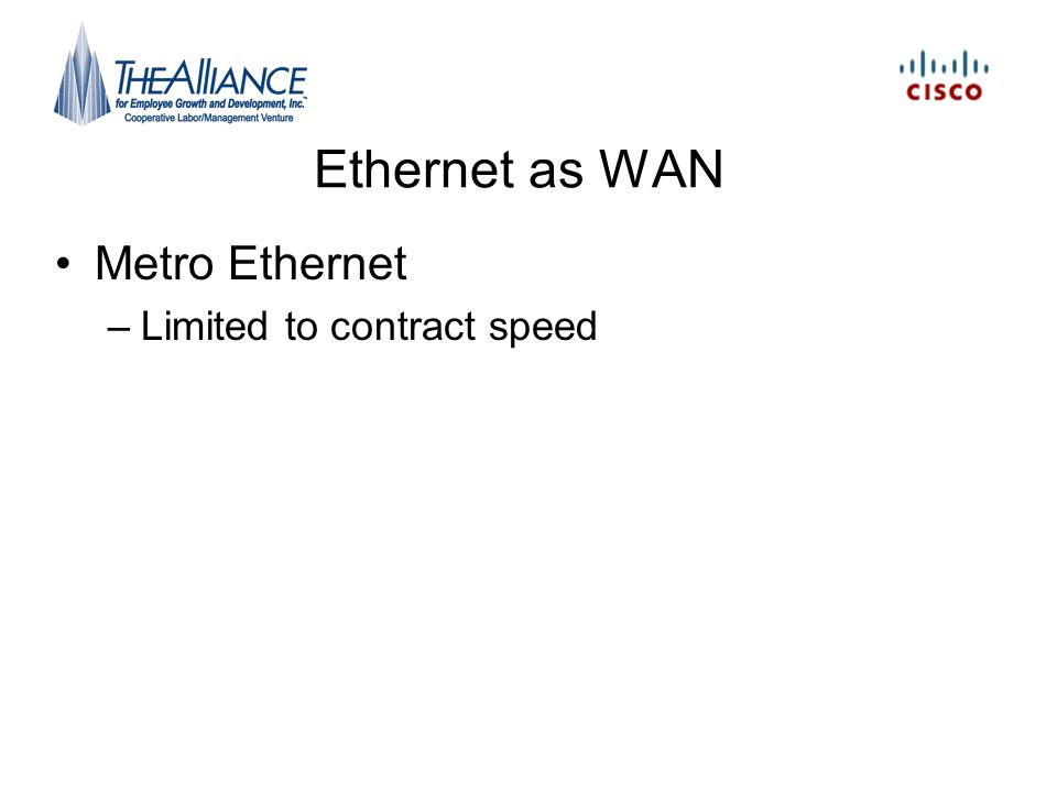 Ethernet as WAN Metro Ethernet –Limited to contract speed