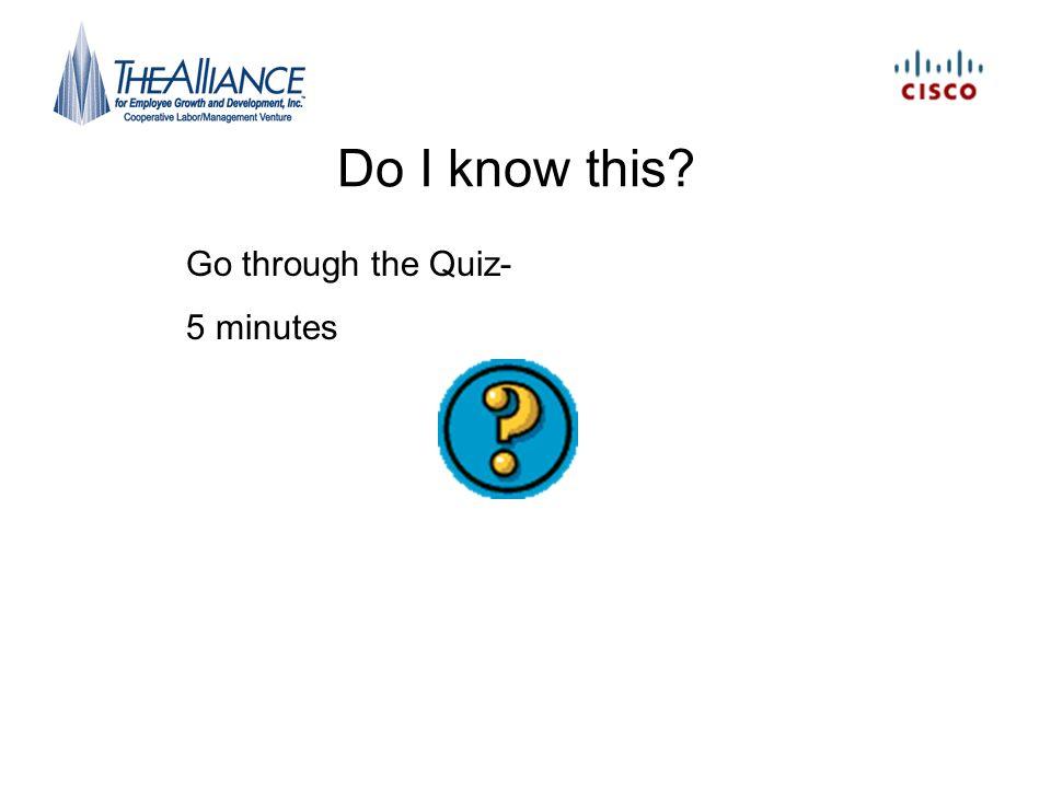 Do I know this? Go through the Quiz- 5 minutes