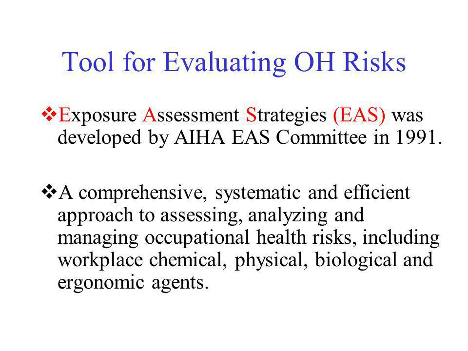 Tool for Evaluating OH Risks Exposure Assessment Strategies (EAS) was developed by AIHA EAS Committee in 1991. A comprehensive, systematic and efficie