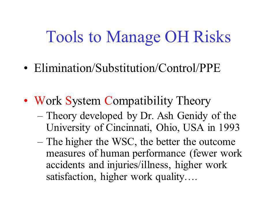 Tools to Manage OH Risks Elimination/Substitution/Control/PPE Work System Compatibility Theory –Theory developed by Dr. Ash Genidy of the University o