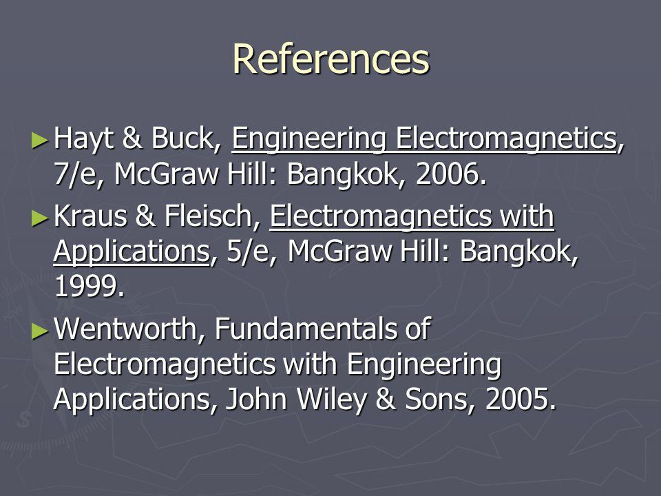 References Hayt & Buck, Engineering Electromagnetics, 7/e, McGraw Hill: Bangkok, 2006. Hayt & Buck, Engineering Electromagnetics, 7/e, McGraw Hill: Ba