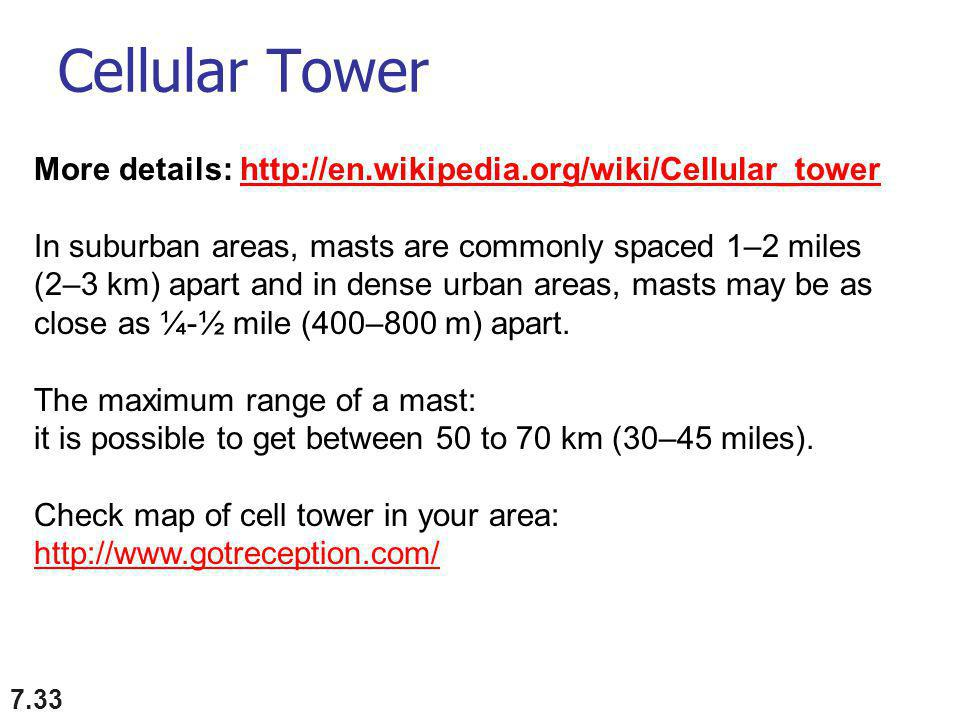 Cellular Tower 7.33 More details:   In suburban areas, masts are commonly spaced 1–2 miles (2–3 km) apart and in dense urban areas, masts may be as close as ¼-½ mile (400–800 m) apart.
