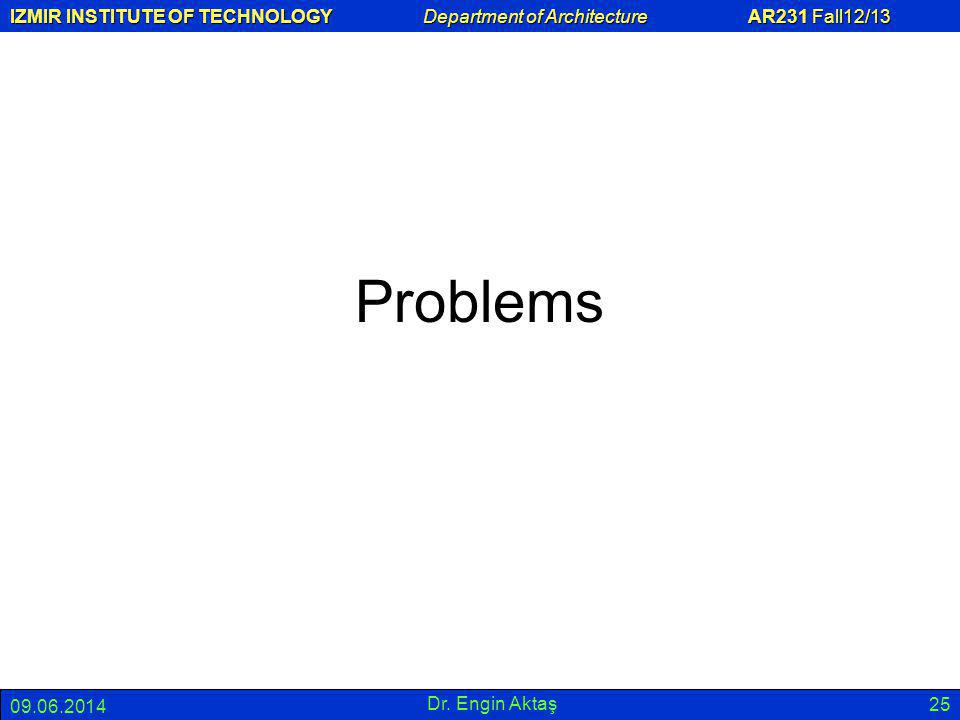 IZMIR INSTITUTE OF TECHNOLOGY Department of Architecture AR231 Fall12/13 09.06.2014 Dr. Engin Aktaş 25 Problems