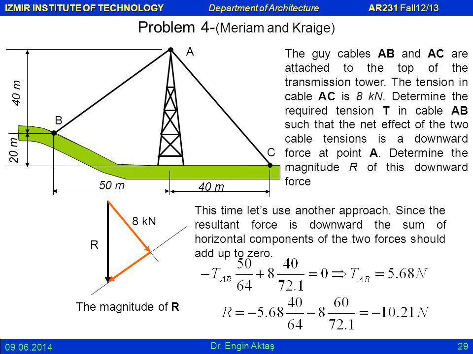 IZMIR INSTITUTE OF TECHNOLOGY Department of Architecture AR231 Fall12/13 09.06.2014 Dr. Engin Aktaş 29 Problem 4- (Meriam and Kraige) B A C 50 m 40 m