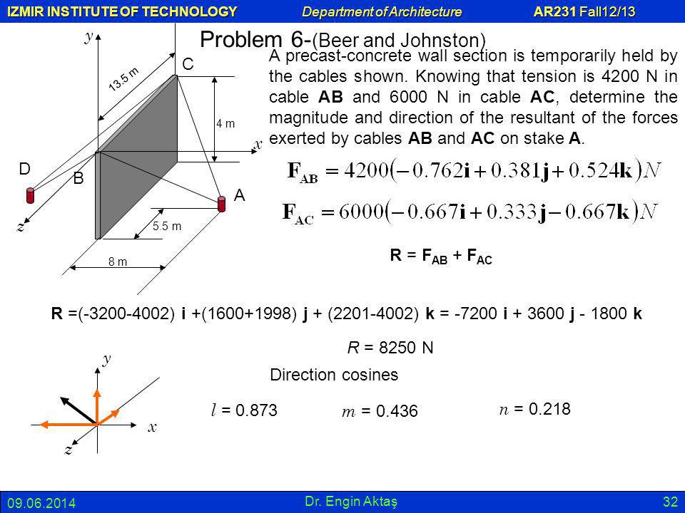 IZMIR INSTITUTE OF TECHNOLOGY Department of Architecture AR231 Fall12/13 09.06.2014 Dr. Engin Aktaş 32 Problem 6- (Beer and Johnston) A precast-concre
