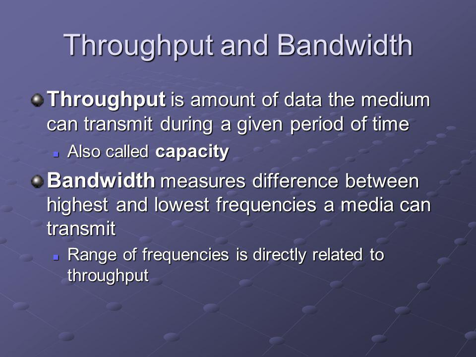 Throughput and Bandwidth Throughput is amount of data the medium can transmit during a given period of time Also called capacity Also called capacity Bandwidth measures difference between highest and lowest frequencies a media can transmit Range of frequencies is directly related to throughput Range of frequencies is directly related to throughput
