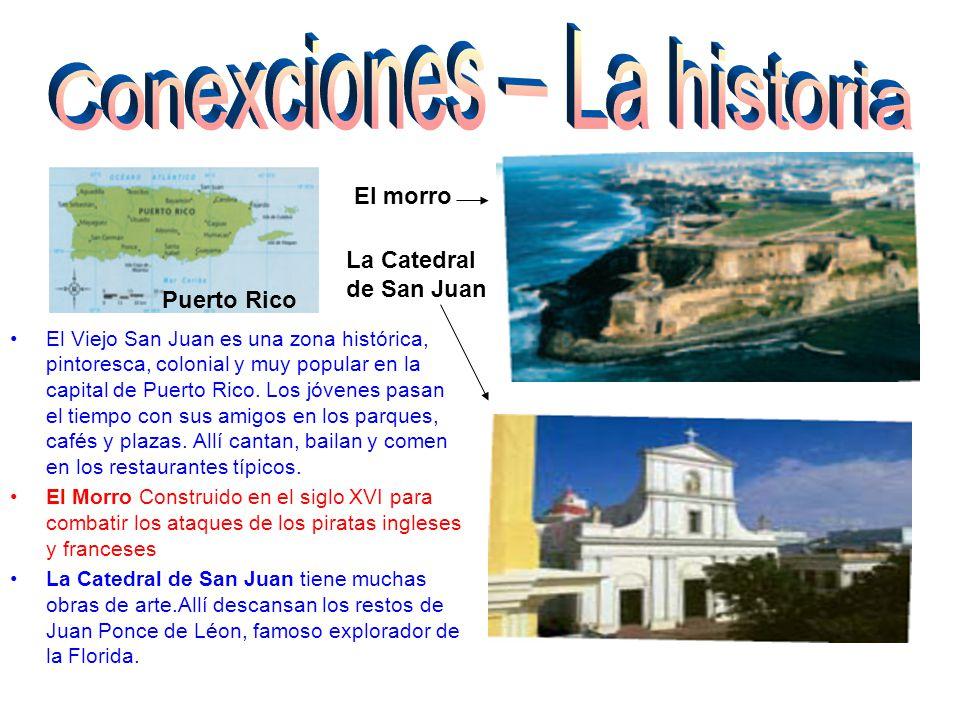 El Viejo San Juan es una zona histórica, pintoresca, colonial y muy popular en la capital de Puerto Rico. Los jóvenes pasan el tiempo con sus amigos e