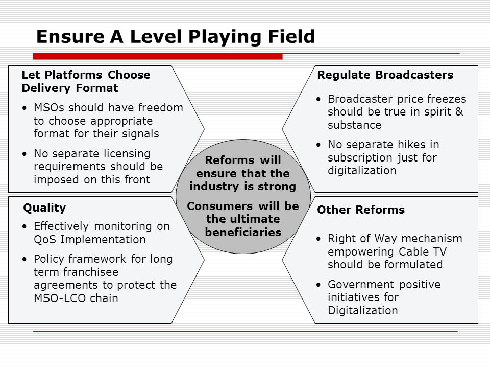 Ensure A Level Playing Field Effectively monitoring on QoS Implementation Policy framework for long term franchisee agreements to protect the MSO-LCO chain Let Platforms Choose Delivery Format MSOs should have freedom to choose appropriate format for their signals No separate licensing requirements should be imposed on this front Broadcaster price freezes should be true in spirit & substance No separate hikes in subscription just for digitalization Right of Way mechanism empowering Cable TV should be formulated Government positive initiatives for Digitalization Regulate Broadcasters Other Reforms Quality Reforms will ensure that the industry is strong Consumers will be the ultimate beneficiaries