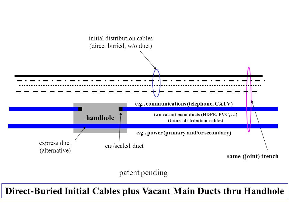 Direct-Buried Initial Cables plus Vacant Main Ducts thru Handhole initial distribution cables (direct buried, w/o duct) two vacant main ducts (HDPE, P