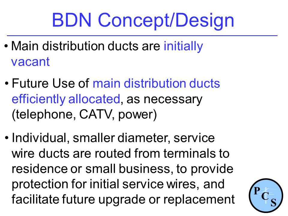 Main distribution ducts are initially vacant BDN Concept/Design Future Use of main distribution ducts efficiently allocated, as necessary (telephone,