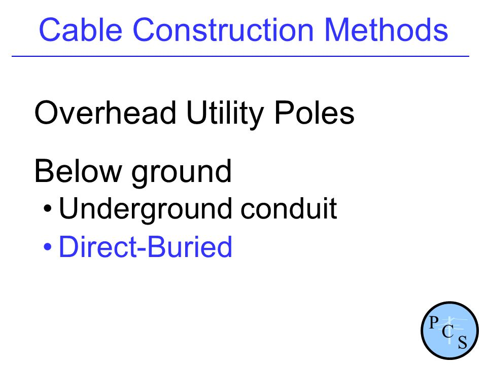 Cable Construction Methods Overhead Utility Poles Below ground Underground conduit Direct-Buried P S C
