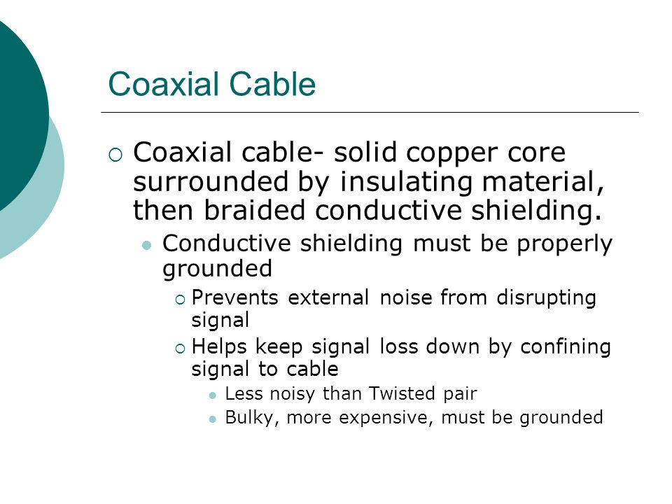 Coaxial Cable Coaxial cable- solid copper core surrounded by insulating material, then braided conductive shielding. Conductive shielding must be prop