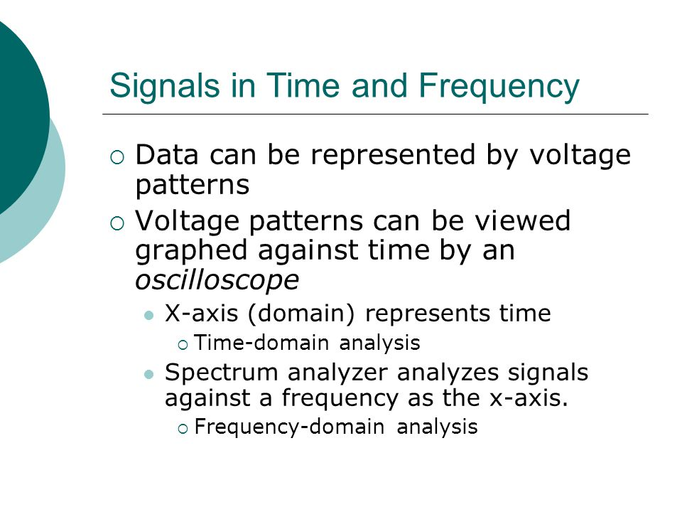 Signals in Time and Frequency Data can be represented by voltage patterns Voltage patterns can be viewed graphed against time by an oscilloscope X-axi