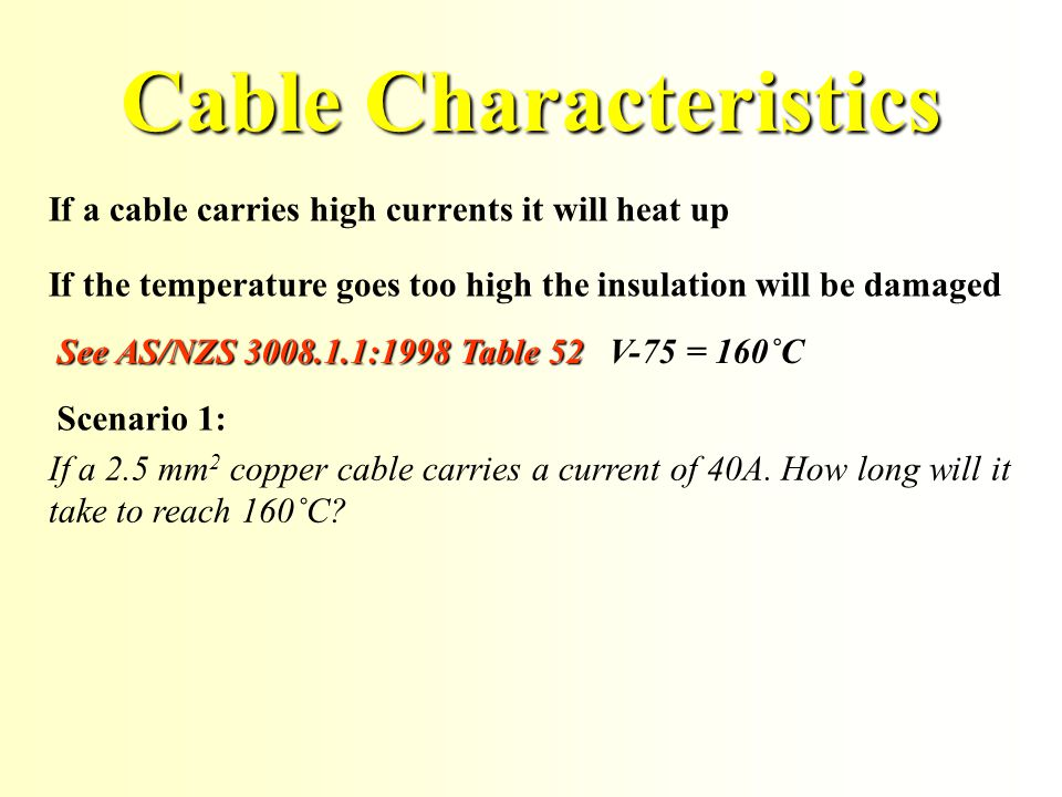 Cable Characteristics If a cable carries high currents it will heat up See AS/NZS 3008.1.1:1998 Table 52 V-75 = 160˚C If the temperature goes too high the insulation will be damaged If a 2.5 mm 2 copper cable carries a current of 40A.