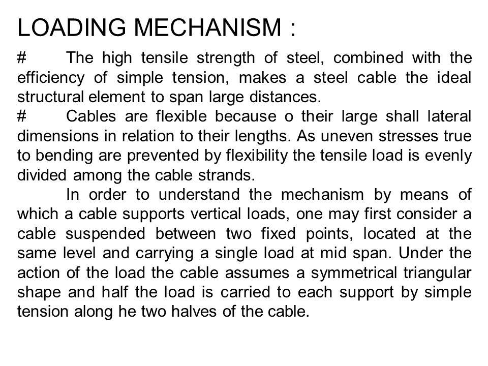 LOADING MECHANISM : #The high tensile strength of steel, combined with the efficiency of simple tension, makes a steel cable the ideal structural elem