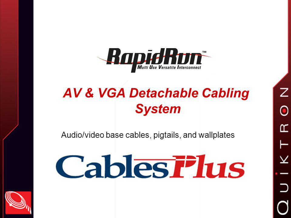 Reviewing the RapidRun system Detachable interconnect system for A/V & VGA cables Save termination hassle during installation Opens new opportunities for contractors & installers Flexiblemany connector options, signals can be combined over one cable Modulareasy to upgrade as applications change Attractive pricinggood opportunity for profit