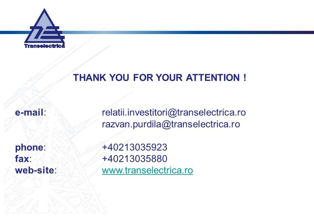 THANK YOU FOR YOUR ATTENTION ! e-mail:relatii.investitori@transelectrica.ro razvan.purdila@transelectrica.ro phone:+40213035923 fax:+40213035880 web-s