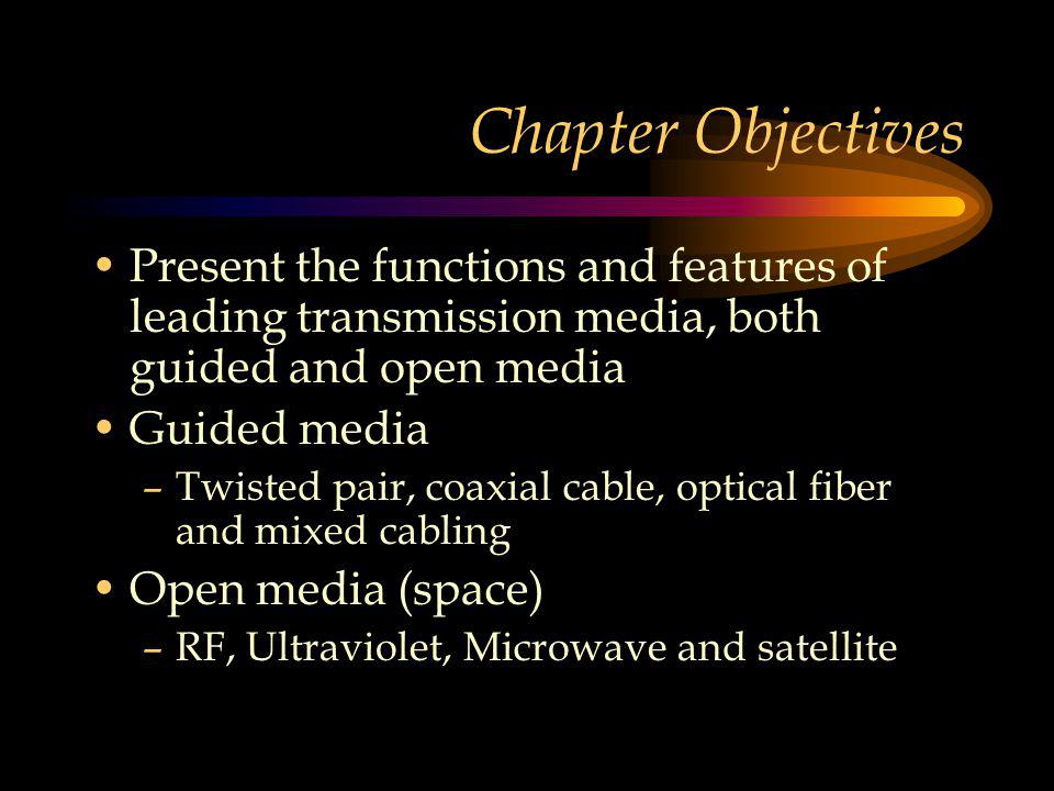 Chapter Objectives Present the functions and features of leading transmission media, both guided and open media Guided media –Twisted pair, coaxial cable, optical fiber and mixed cabling Open media (space) –RF, Ultraviolet, Microwave and satellite