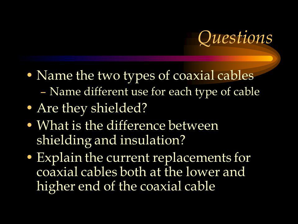Questions Name the two types of coaxial cables –Name different use for each type of cable Are they shielded.
