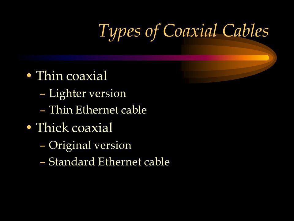 Types of Coaxial Cables Thin coaxial –Lighter version –Thin Ethernet cable Thick coaxial –Original version –Standard Ethernet cable