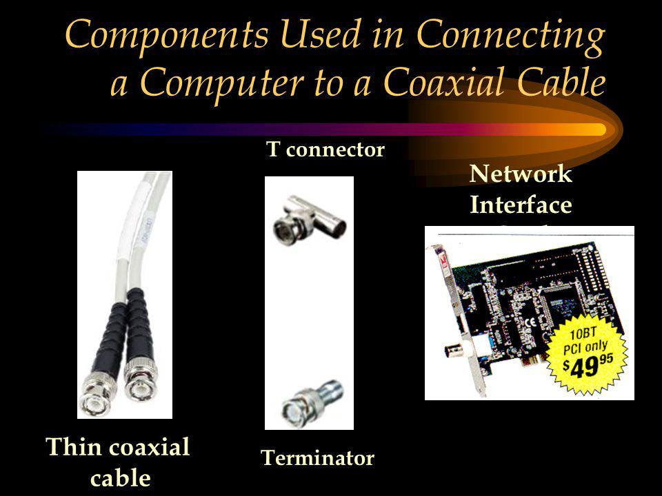 Components Used in Connecting a Computer to a Coaxial Cable Thin coaxial cable T connector Terminator Network Interface Card