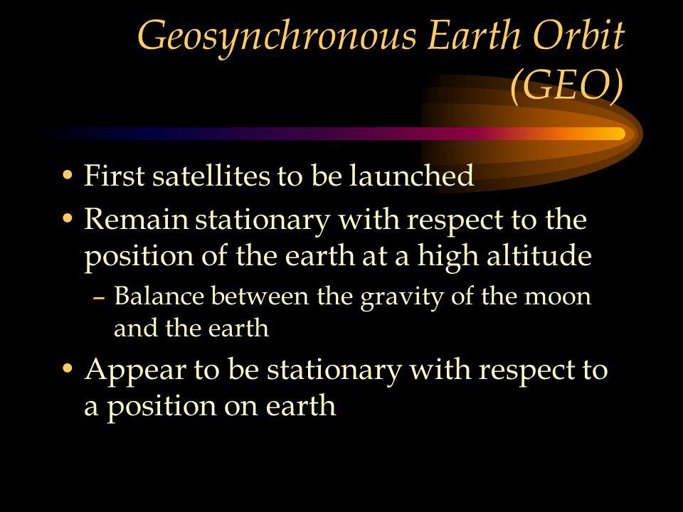 Geosynchronous Earth Orbit (GEO) First satellites to be launched Remain stationary with respect to the position of the earth at a high altitude –Balance between the gravity of the moon and the earth Appear to be stationary with respect to a position on earth